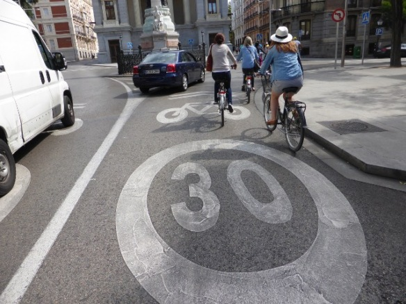 Cycling road markings and 30kmph marking Madrid