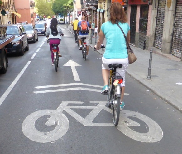 Cyclists priority street in Madrid