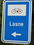 Lasne cycle route sign