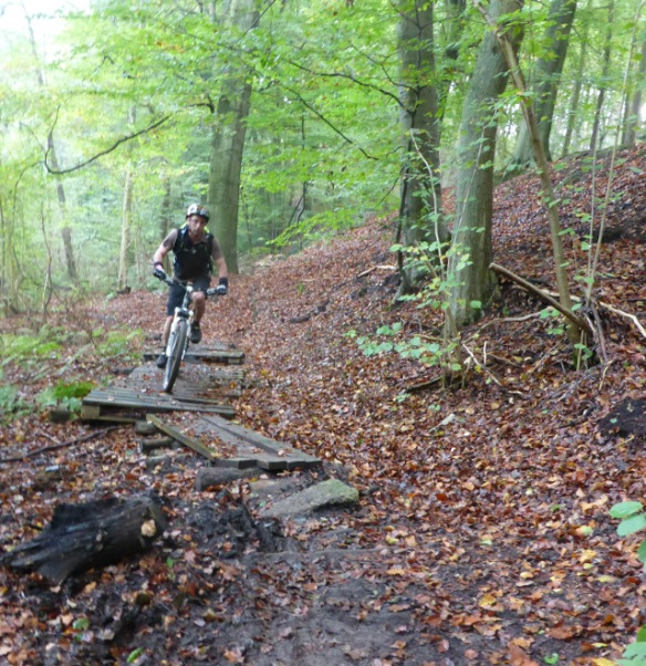 Mountain biking technical section Bois de Reves Ottignies
