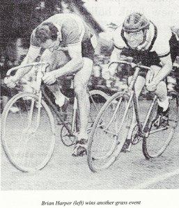 Brian Harper Godric CC winning grass track race 1960s