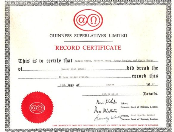 Guiness World Record Roller Cycle Racing