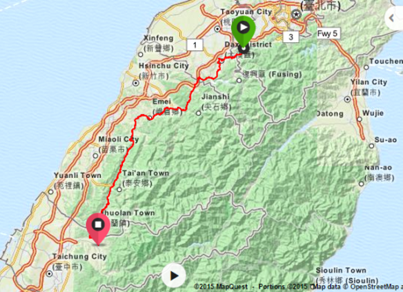 Screenshot Taipei to Taichung map