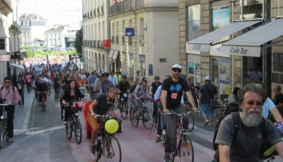 Nantes Velo-city 2015 bike parade in city