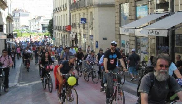 Nantes Velo-city 2015 bike parade in city