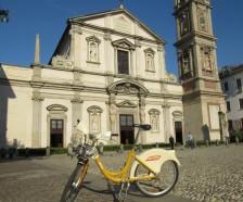 Piazza San Stefano and bike share bike Milan Italy