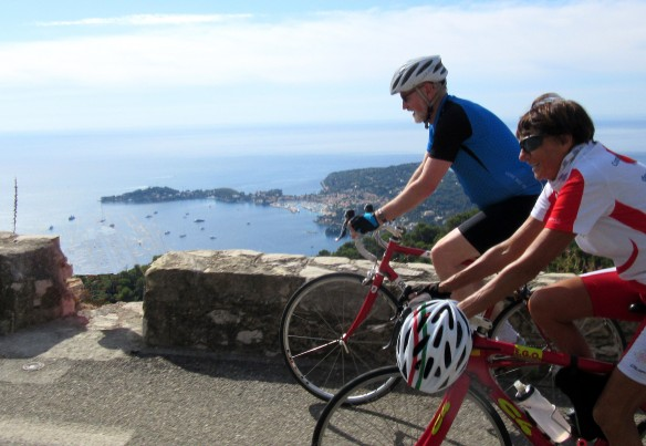 Copyright photo Kevin Mayne Cyclists riding above sea view